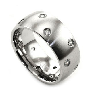 James Cavolini Stainless Steel and Cubic Zirconia Wide Band Ring