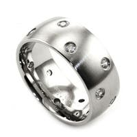 James Cavolini Stainless Steel and Cubic Zirconia Wide Band Ring - White
