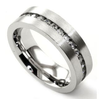 James Cavolini Stainless Steel and Cubic Zirconia Thin Band Men's Ring|https://ak1.ostkcdn.com/images/products/10426500/P17525301.jpg?impolicy=medium