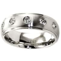 James Cavolini Stainless Steel and Cubic Zirconia Thin Sleek Band Ring - White