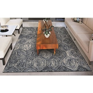 Couristan Graphite Ripples/ Ivory-Azure Rug (9' x 12')
