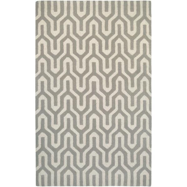 "Hand-Crafted Barlow Wishingbone White/Gray Area Rug - 9'6"" x 13'"