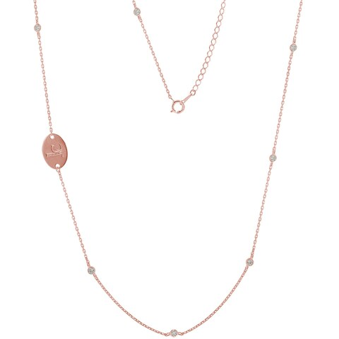 James Cavolini Sterling Silver Cubic Zirconia Bezel Station By The Yard Necklace