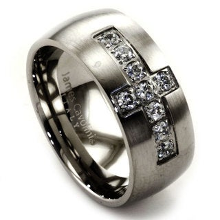 James Cavolini Stainless Steel and Cubic Zirconia Cross Men's Ring - White