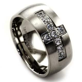 James Cavolini Stainless Steel And Cubic Zirconia Cross Mens Ring