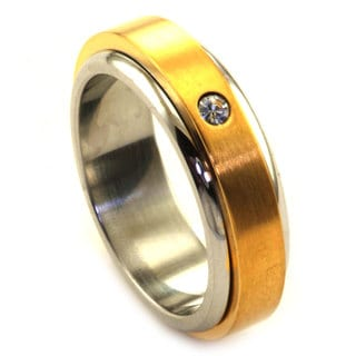 James Cavolini IP Gold Stainless Steel Two-Tone Spinner Ring