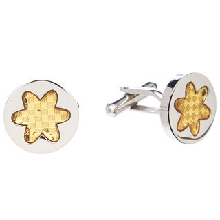 James Cavolini Stainless Steel and IP Gold Star Cuff Links