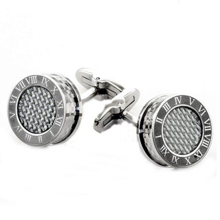 James Cavolini Stainless Steel Roman Numeral Cuff Links