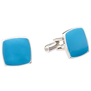 James Cavolini Stainless Steel and Royal Blue Square Cuff Links