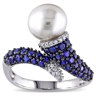 Miadora Sterling Silver Freshwater Pearl Created Blue Sapphire and 1/10ct TDW Diamond Ring (G-H, I2-I3)