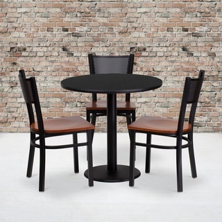 30-inch Round Black Laminate Table Set with Three (3) Grid Back Metal Chairs