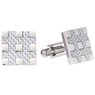 James Cavolini Stainless Steel Checkered Square Cuff Links