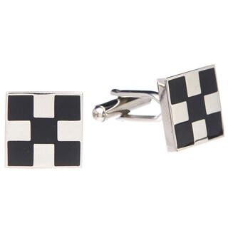 James Cavolini Stainless Steel and Black Checkered Cuff Links