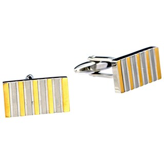 James Cavolini Stainless Steel and IP Gold Stripe Rectangle Cuff Links