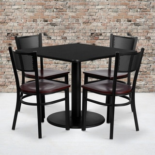 36-inch Square Black Laminate Table Set with Four (4) Mahogany Wood Seat Grid Back Metal Chairs