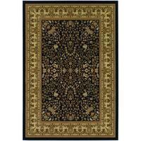Couristan Izmir Floral Mashhad/ Black Rug - 9' x 12'