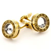 James Cavolini Golden Stainless Steel and Cubic Zirconia Cuff Links - White