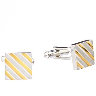 James Cavolini Stainless Steel and IP Gold Stripe Square Cuff Links