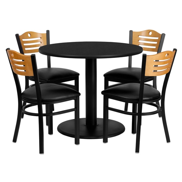 36-inch Round Black Laminate Table Set with Four (4) Black Vinyl Seat Wood Slat Back Metal Chairs