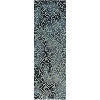 Hand-Tufted Neston Damask Pattern Wool Area Rug