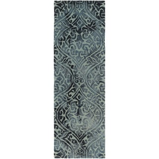 Hand-Tufted Neston Damask Pattern Wool Rug (2'6 x 8')