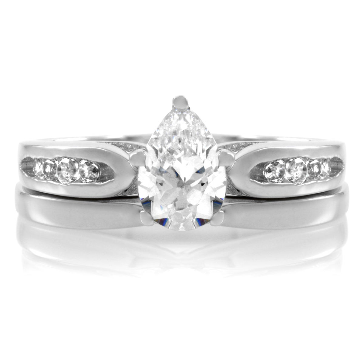 Sterling Silver Petite Pear CZ Wedding Ring Set (7), Wome...