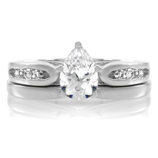 Sterling Silver Petite Pear CZ Wedding Ring Set
