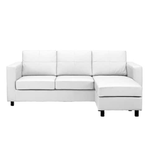 Bonded Leather Small Space Sectional Sofa with Reversible Chaise