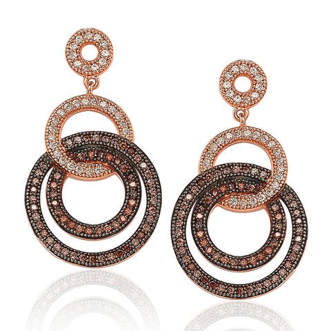 Suzy Levian Rose Plated Sterling Silver Brown Cubic Zirconia Circle Drop Dangle Earrings - Pink