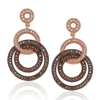 Suzy Levian Rose Plated Sterling Silver Brown Cubic Zirconia Circle Drop Dangle Earrings|https://ak1.ostkcdn.com/images/products/10426604/P17525293.jpg?impolicy=medium