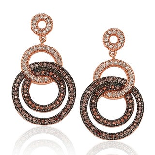 Suzy Levian Rose Plated Sterling Silver Brown Cubic Zirconia Circle Drop Dangle Earrings