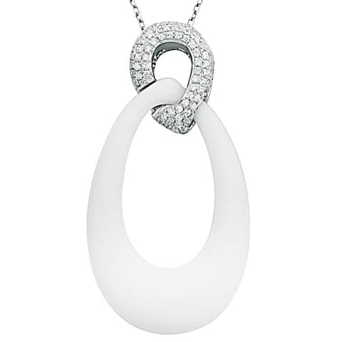 Suzy Levian Pave Cubic Zirconia Sterling Silver Pendant - White