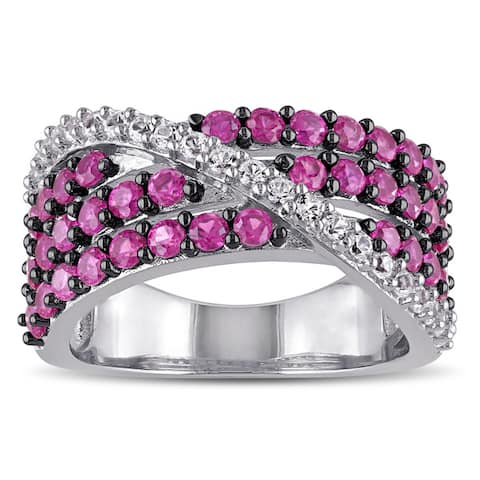 Miadora Sterling Silver Created Ruby and Created White Sapphire Cross Over Ring - Red