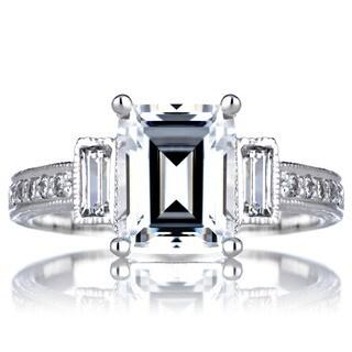 Sterling Silver Emerald CZ Engagement Vintage Ring