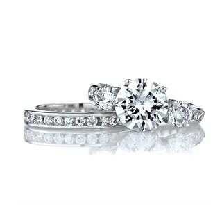 Sterling Silver CZ Wedding Ring Set