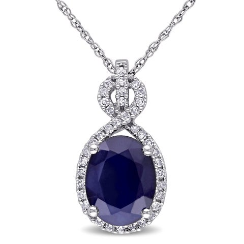 Miadora 10k White Gold Diffused Sapphire and 1/6ct TDW Diamond Crossover Necklace