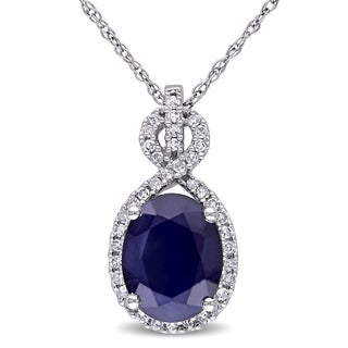 Miadora 10k White Gold Diffused Sapphire And 1 6ct TDW Diamond Crossover Necklace