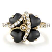 Sterling Silver Black and Goldtone Flower Ring
