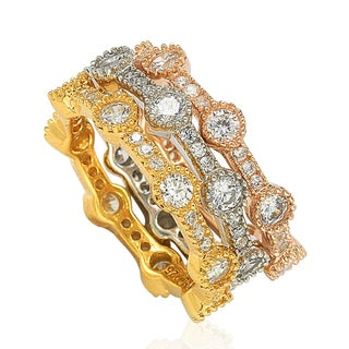 Suzy Levian Stackable Tri-Tone Sterling Silver Cubic Zirconia Rings (2 options available)