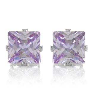Lavender Square Cut Cubic Zirconia Non Pierced Magnetic Earrings