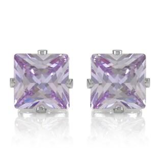 Lavender Square Cut Cubic Zirconia Non Pierced Magnetic Earrings