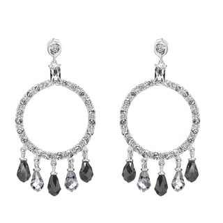 Black & White CZ Circle Chandelier Earrings