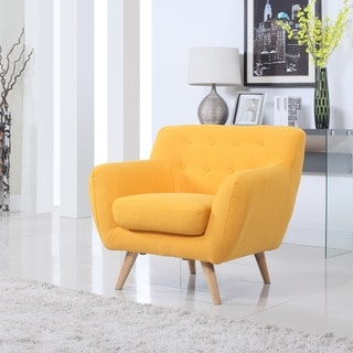 Mid Century to Modern Upholsted Accent Chair with Wood Legs
