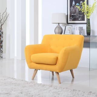 Mid Century to Modern Upholsted Accent Chair with Wood Legs (More options available)