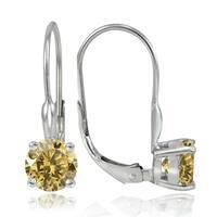 Glitzy Rocks Sterling Silver 1.5ct TGW Citrine Leverback Earrings