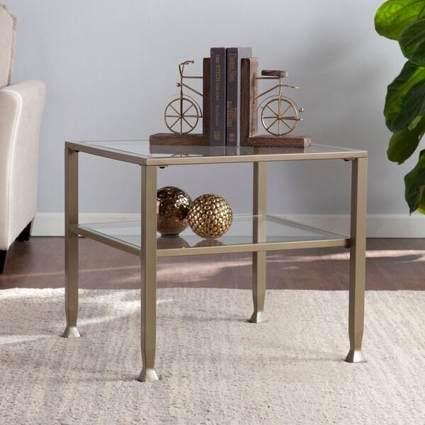 Harper Blvd Matte Gold Metal/ Glass Bunching Coffee/ Cocktail Table