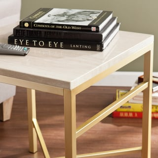 Harper Blvd Ogden Travertine Faux Stone Side/ End Table