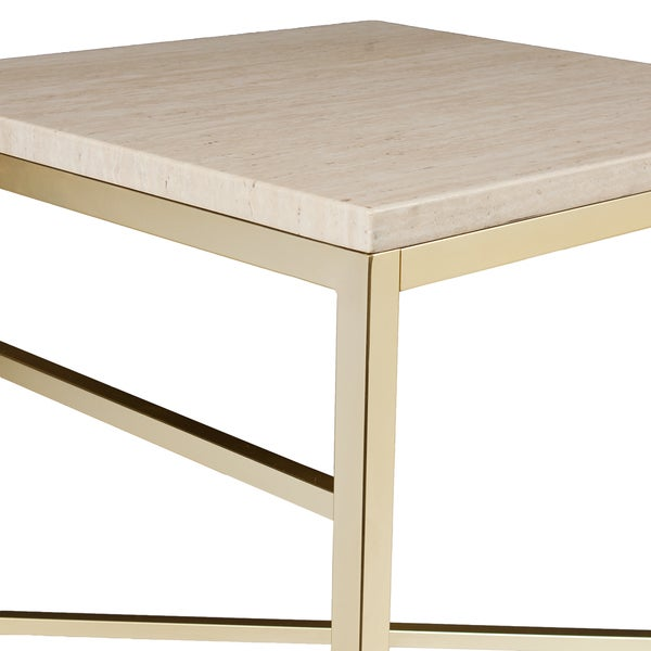Harper Blvd Ogden Travertine Faux Stone Side/ End Table   Free Shipping  Today   Overstock.com   17525175