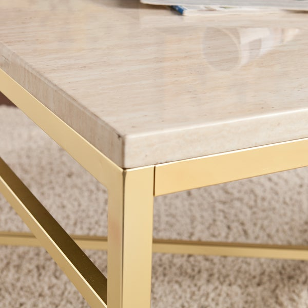 Harper Blvd Ogden Travertine Faux Stone Coffee/ Cocktail Table   Free  Shipping Today   Overstock.com   17525176