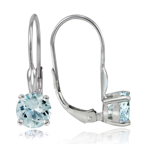 Glitzy Rocks Sterling Silver 1 6ct Tgw Aquamarine Leverback Earrings